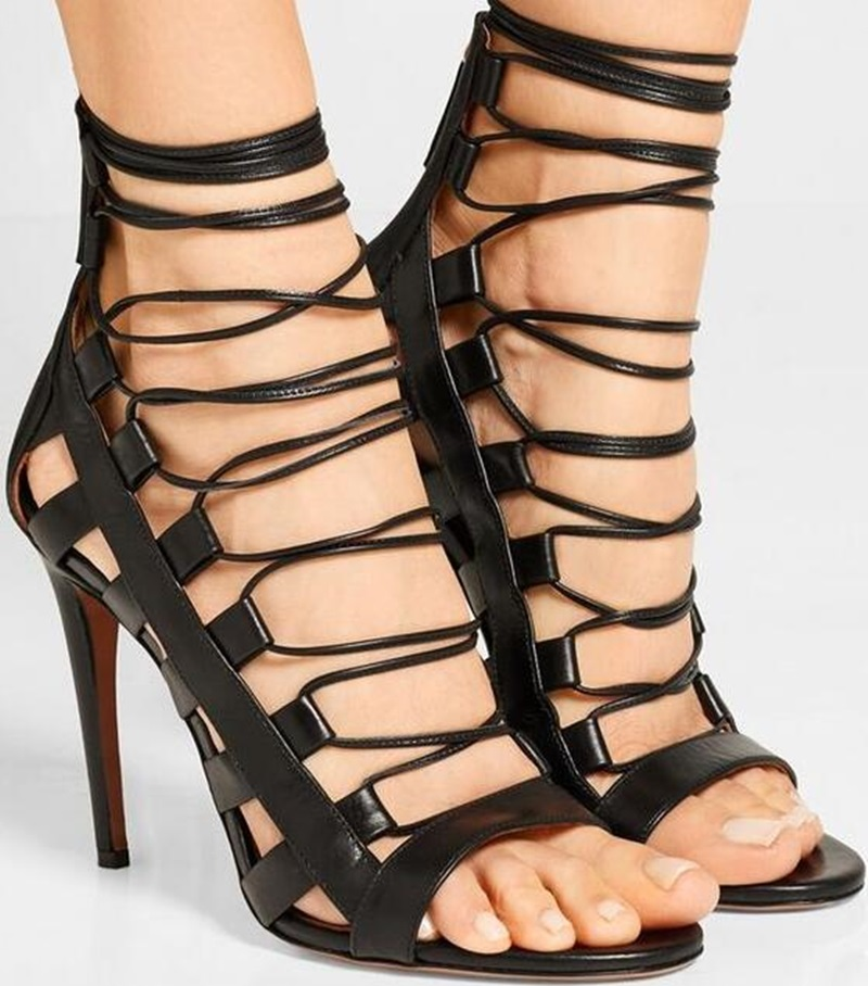 Brand Designer Black Suede Sandals Peep Toe Lace-Up Strappie Sandals Cutouts Cage Shoes For Women Size 34-42 Gladiator Heels NewBrand Designer Black Suede Sandals Peep Toe Lace-Up Strappie Sandals Cutouts Cage Shoes For Women Size 34-42 Gladiator Heels New