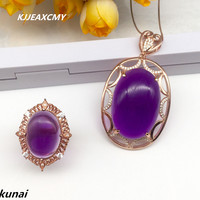 KJJEAXCMY Fine jewelry, Fashion 925 silver set Amethyst wedding jewelry women's Suite