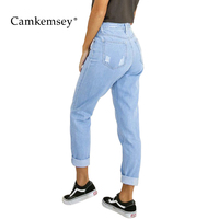 CamKemsey Loose Boyfriend Jeans Woman Washed Blue High Waist Ripped Jeans For Women Casual Cropped Denim Pants Trousers