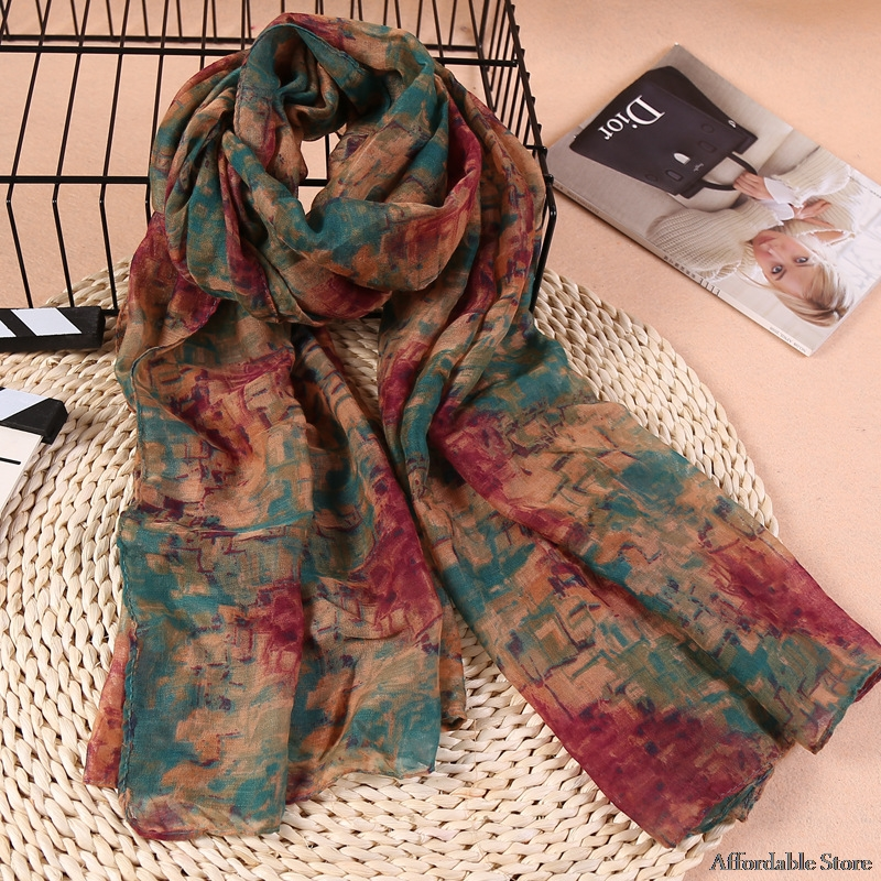 Autumn and winter Korean version of cotton and linen scarf female large long paragraph printed shawl scarf dual mosaic scarf