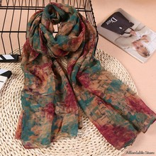 Autumn and winter Korean version of cotton and linen scarf female large long paragraph printed shawl scarf dual mosaic scarf(China)