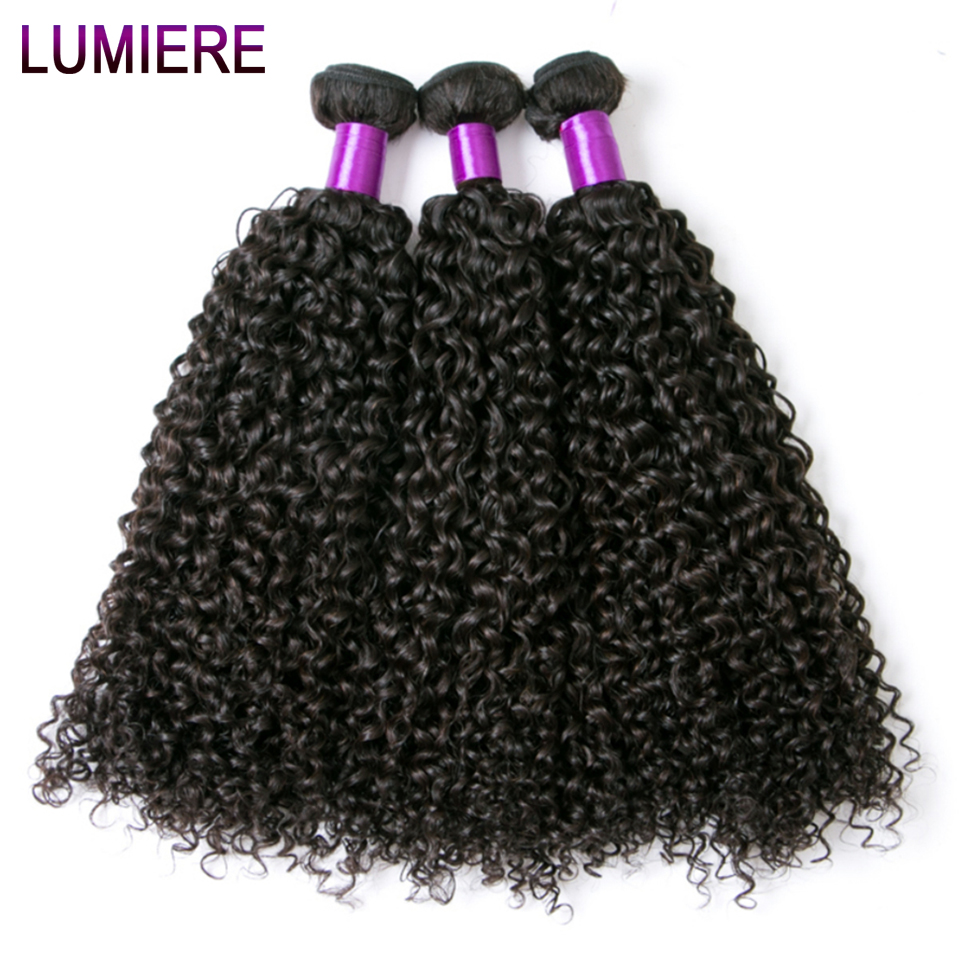 Lumiere Hair Bundles Cambodian Kinky Curly Weave Human Hair 3 Bundles Natural Color Hair Extension Non Remy Free Shipping
