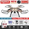 2016 NOVA SYMA X8HC RC Quadcopter Zangão RC Com Câmera de 2MP HD 2.4G 6 Axis Dron VS MJX RC Helicopter RTF Com 3 Bateria X101