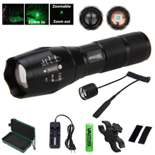 Tactical 5000 Lumens Q5 LED FleshLight Adjustable Focus Flashlight Torch +Rifle Scope Mount+18650+Charger+Remote Pressure Switch