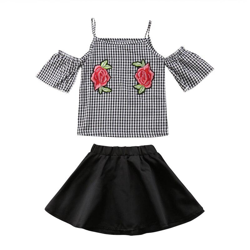 Комплект из 2 предметов юбка-пачка для девочек платье Костюмы летняя детская одежда для малышей с цветочным рисунком для девочек с открытым...