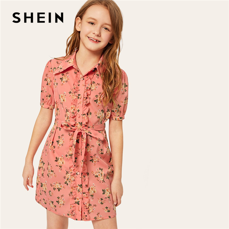 SHEIN Kiddie Pink Button Front Floral Print Cute Dress With Belt 2019 Summer Puff Sleeve Casual Ruffle Straight Shirt Dresses self belted button up plaid print dress
