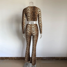 KGFIGU 2019 Fall New Sexy leopard two piece set suit Women Sexy Round neck long sleeve Tops High Waist flare Pants Matching Set