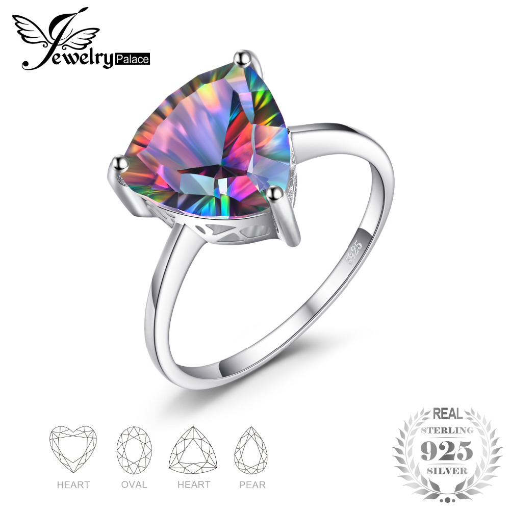 JewelryPalace Natural Rainbow Fire Mystic Topaz Ring 925 Sterling Silver Ring Engagement Wedding Jewelry Anniversary Gifts jewelrypalace 28ct natural fire rainbow mystic topaz bracelet tennis for women gift love pure 925 sterling silver fine jewelry