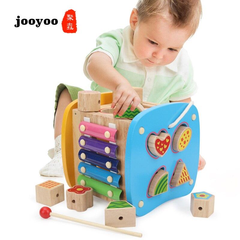 Bébé empilable nidification jouet éducatif en bois blocs géométriques cadeau de naissance bébé Gym bois enfants jouet jooyoo