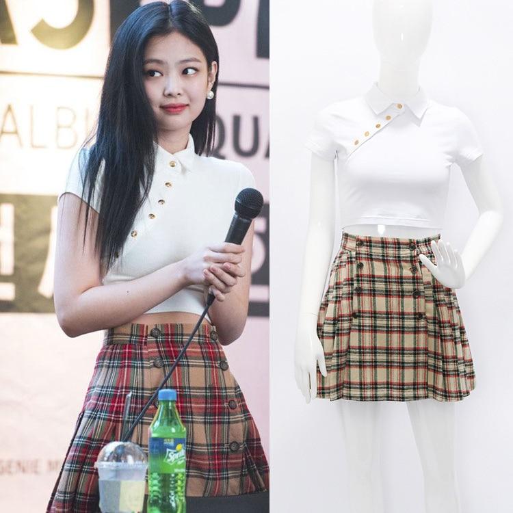 Blackpink Jennie a mesma Camiseta Harajuku Kpop Kawaii Camiseta Manga Curta Coreano Mulheres camiseta Hip Hop Streetwear magro topos