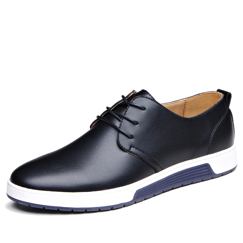 Large Size EU38-48 Lace Up Fashion Handmade Casual PU Leather Men Loafers Men Flats Simple Moccasins Quality Men Shoes(China)