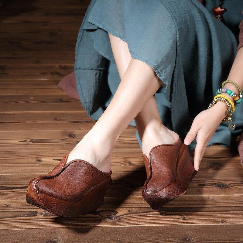 2018 estate nuove donne pantofole, profondo pelle spessa focaccina e scarpe casual con Baotou casual.