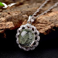S925 Silver Natural Crystal Pendant Necklace Women S Korean Style Fashion Inlaid Small Zircon Jewelry Wholesale