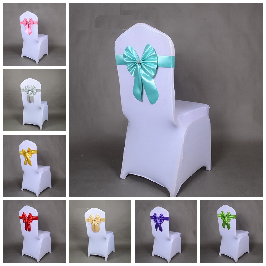 18 Colours Chair Sash Butterfly Style Bow Tie Stretch Sash Chair Band Spandex Chair Cover Sash For Weddings Wholesale