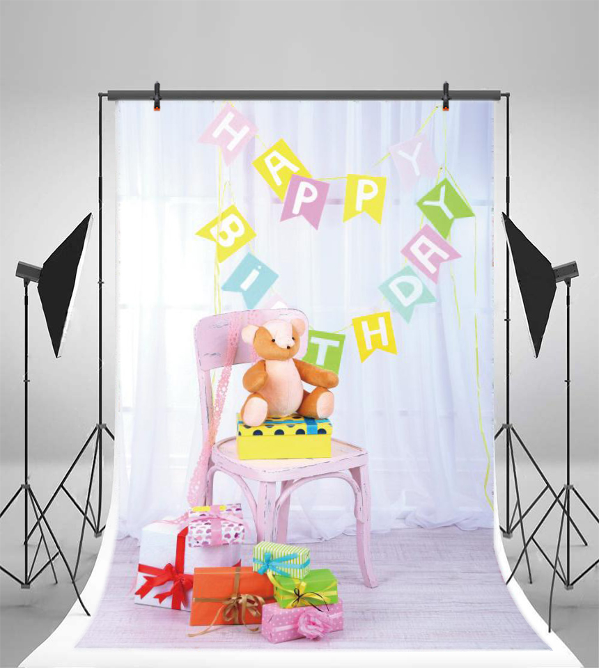 Laeacco Happy Birthday Party Toy Bear Gift Scene Baby Photography Background Customized Photographic Backdrops For Photo Studio