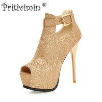 Большие Размеры Мода красное золото выпускного вечера обувь с открытым носком на платформе Super Sexy Обувь на высоком каблуке женские удобные ...