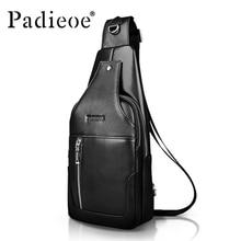 Hot 2017 new brand design fashion leather bag chest men cowhide messenger bag retro shoulder Messenger bag free shipping