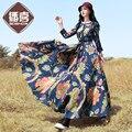 O Envio gratuito de 2016 de Moda de Nova Boshow Primavera E No Outono Mulheres Flor Imprimir One piece-Vestido de Algodão de Manga Longa E Vestidos de linho