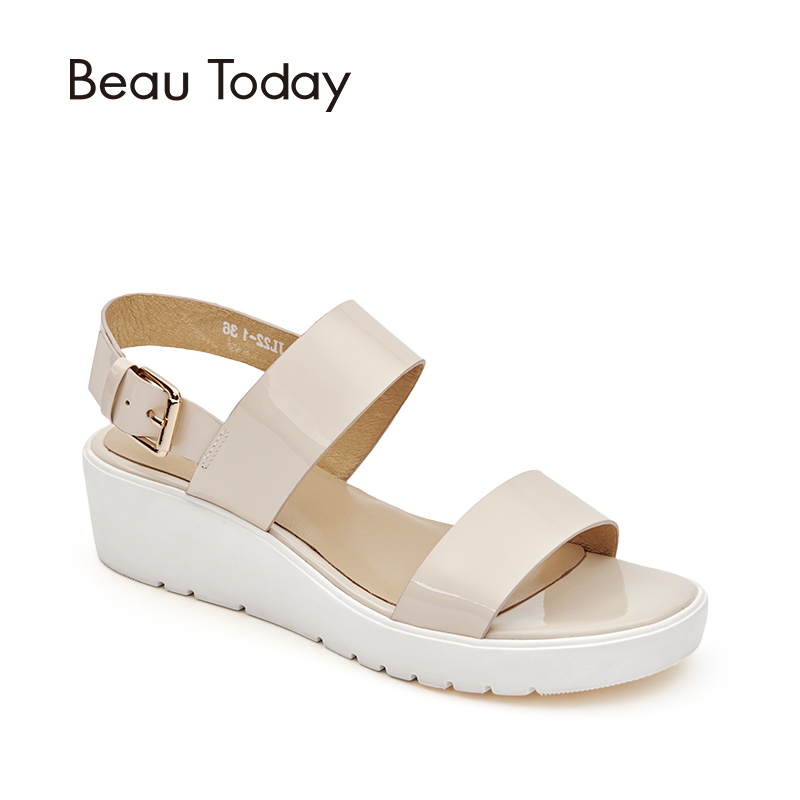 BeauToday Women Sandals Platform Slingback Buckle Strap Summer Patent Cow Leather Casual Wedges Shoes Handmade 32021 venchale 2018 summer new fashion sandals wedges platform women shoes height heel 10 cm buckle strap casual cow leather sandals