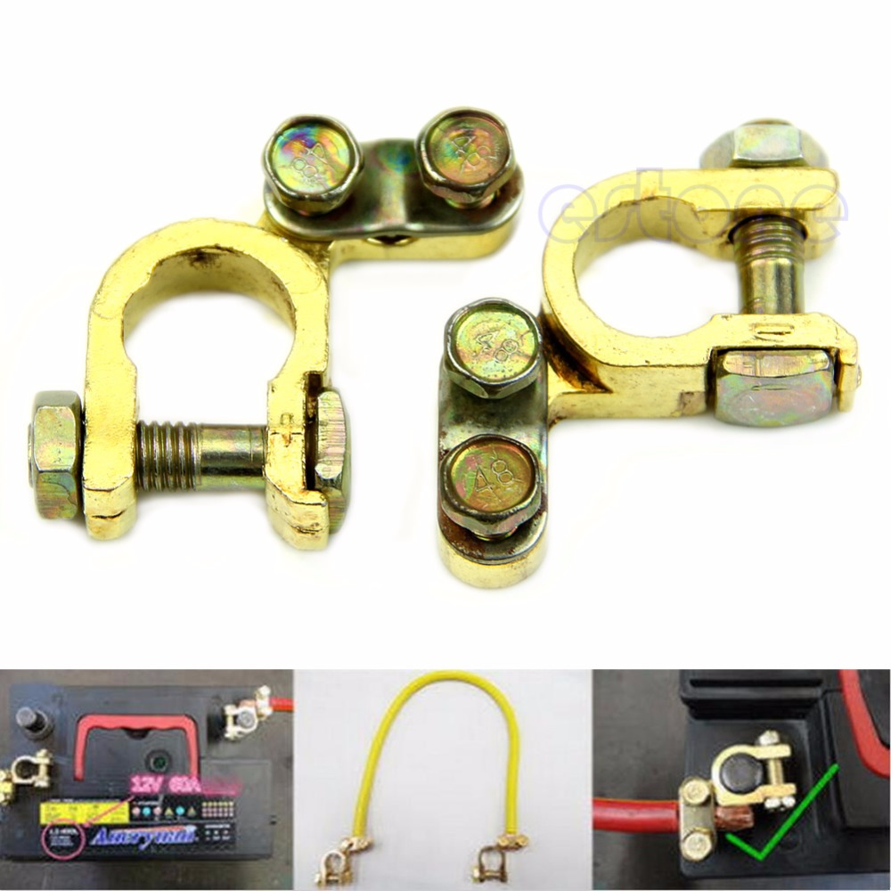 ANENG New 2Pcs Replacement Auto Car Battery Terminal Clamp Clips Brass Connector