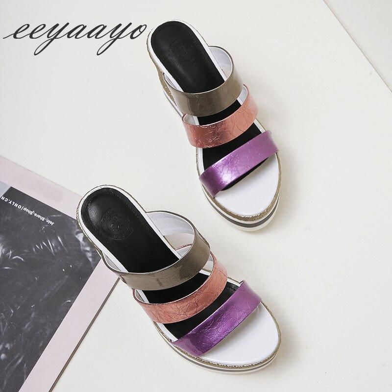 2019 Mezclados Verano Colores Zapatos Genuino Mulas Diapositivas Plataforma De Nuevo Cuña Tacón Cuero Mujer Zapatillas Purple Fuera Eq4vExrT