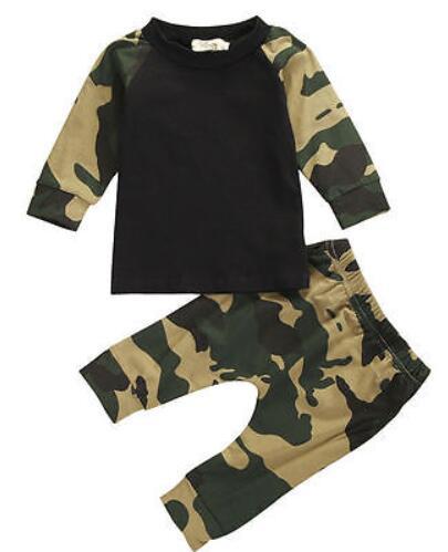 Ejército camuflaje bebé niño niña conjunto de manga larga de bebé recién nacido traje de niño ropa de juegos de regalo de trajes niños ropa conjunto de bebé