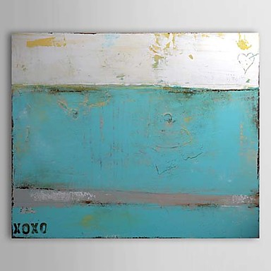 Handmade Modern Canvas Oil Painting Abstract Wall Art Pictures for Living Room Home Decor Gray Blue with Letters Wall Painting