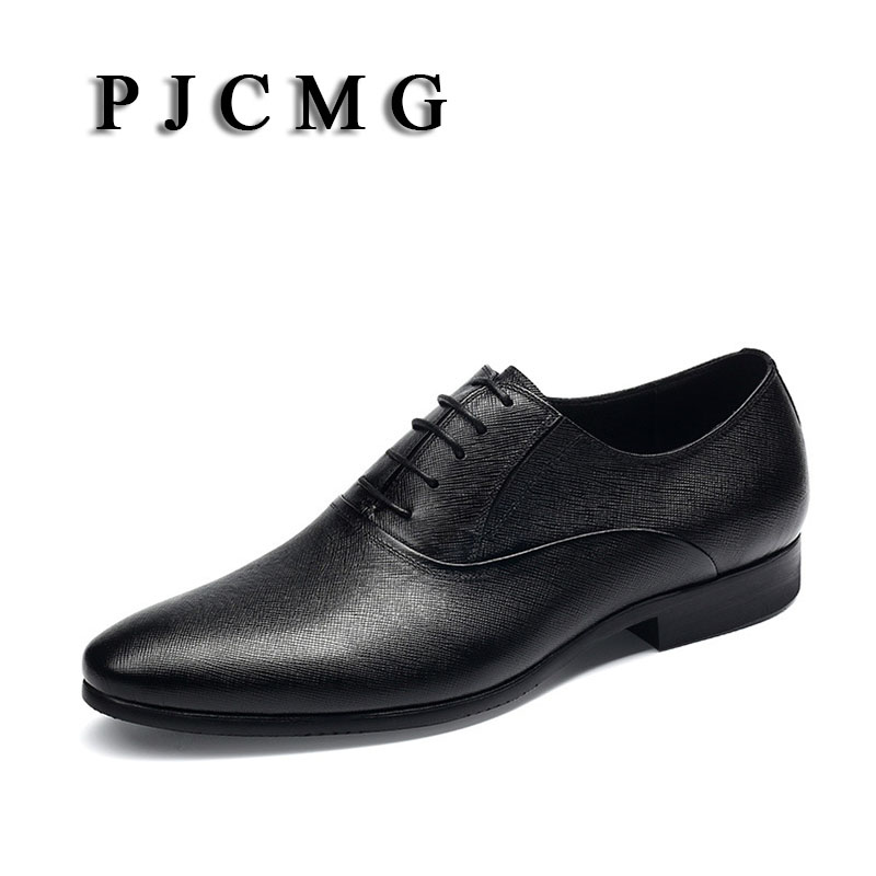 PJCMG New Breathable Mens Business Lace-Up Black/Wine Red Pointed Toe Formal Dress Genuine Leather Wedding Oxfords Office Shoes pjcmg high quality crocodile grain black wine red mens lace up dress genuine leather pointed toe business formal oxfords shoes