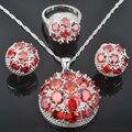 Única Rodada Vermelho Pedra De Zircônia Conjuntos de Jóias das Mulheres 925 Sterling Silver Brincos/Pingente/Colar/Anéis Livre grátis QZ040