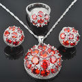 Unique Round Red Stone Zirconia Women's 925 Sterling Silver Jewelry Sets Earrings/Pendant/Necklace/Rings Free Shipping QZ040