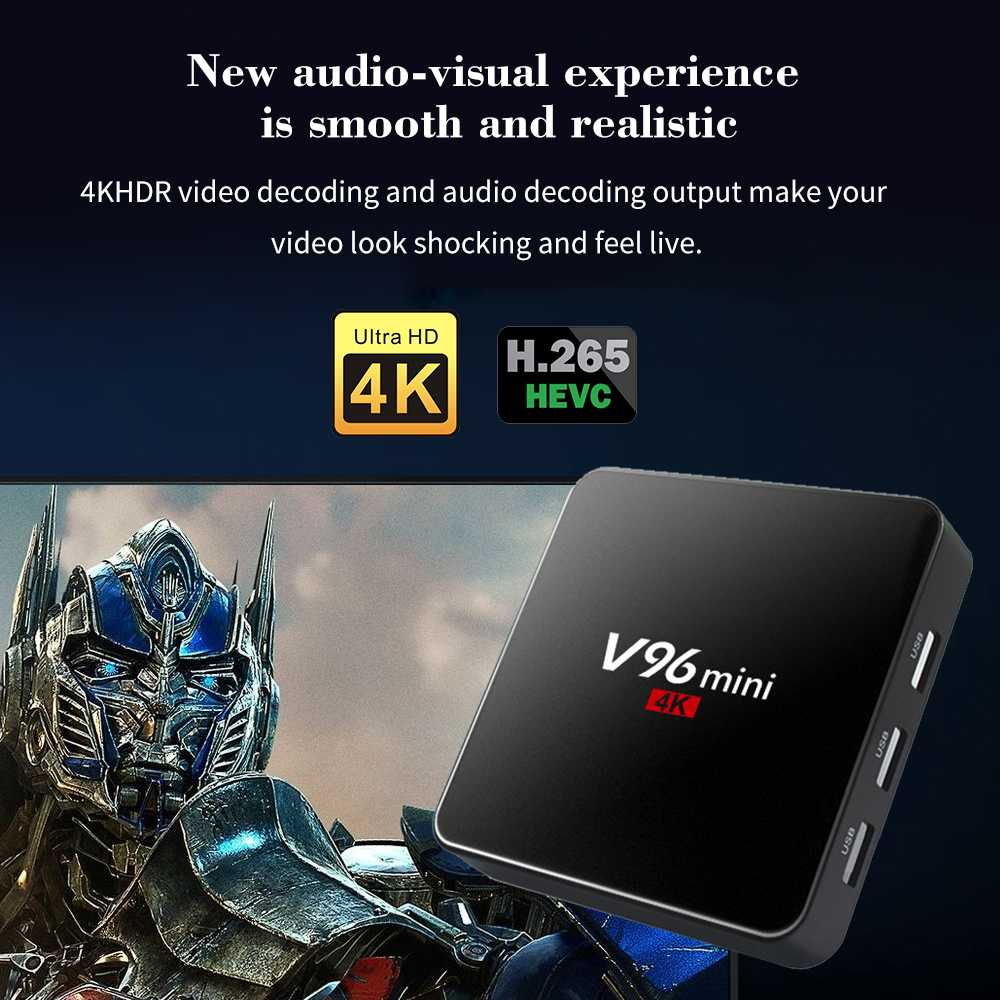 Vmade Android Original V96 2GB+16GB Smart Media Player Allwinner H3 Android  7 1 H 265 Support YouTube Mini TV Box+Mini Keyboard