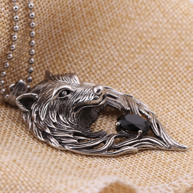 Fashion stainless steel Punk Wolf Pendant & Necklace