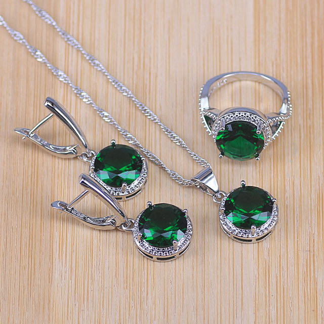 Apple Green Rectangle Glass on Silver Pendant Necklace /& Earrings Set