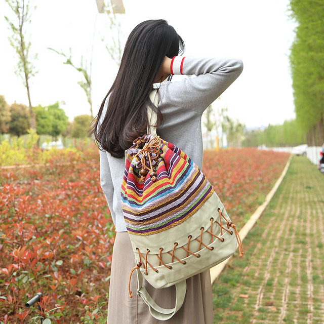 Women Ethnic Minority Handmade Canvas Backpack Hand-woven National Colorful Rainbow Cloth Unique High Capacity Charming Bagpack