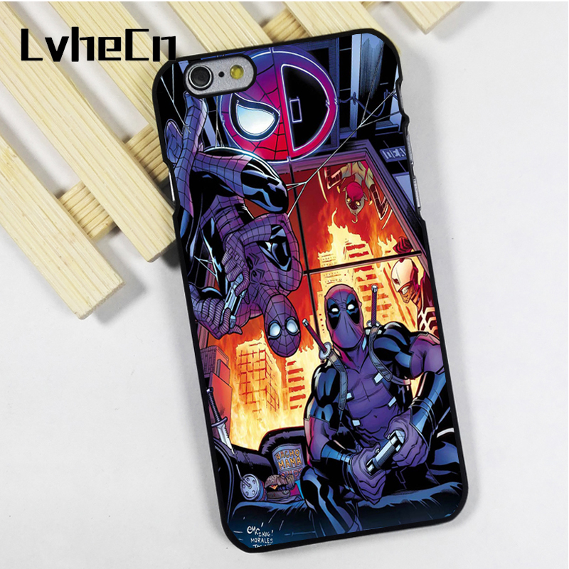 LvheCn phone case cover fit for iPhone 4 4s 5 5s 5c SE 6 6s 7 8 plus X ipod touch 4 5 6 Deadpool Spiderman Cool Marvel DC Art