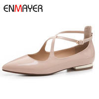 ENMAYER Pointed Toe Cross Tied Shoes Woman Flats Dance Shoes Big Size 34 43 Black Nude Red Party Wedding Patent Leather Shoes