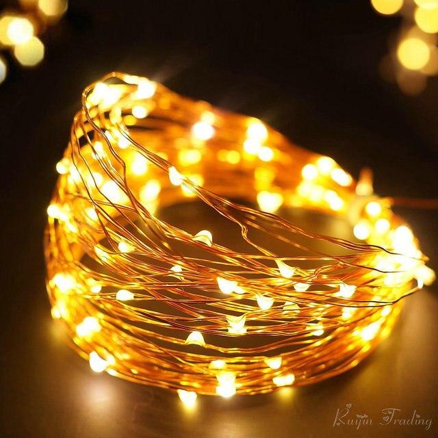 Tira de LED 10 M 100 LED Partido Decoración de la Boda Guirnalda de Navidad Al Aire Libre 2 M 5 M Secuencia de Hadas de Luz de Oro cobre Con Pilas
