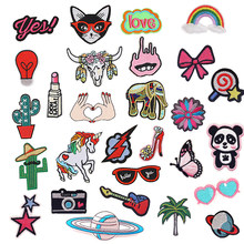 1 PC Cartoon Animal Shape Cloth Stripes Stickers for Clothes Embroidery Patch On Backpack Jeans Patches for Clothing Iron(China)