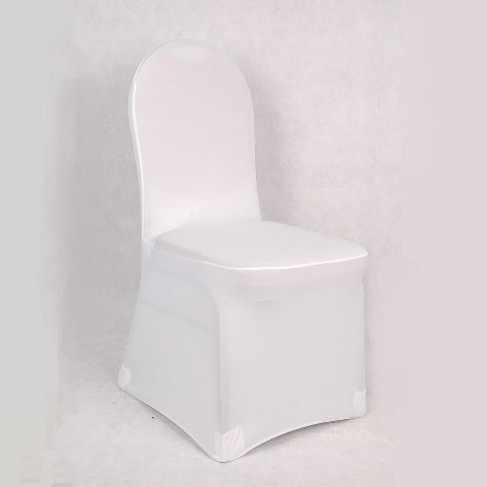100 pcs font b White b font Universal Stretch Polyester Spandex Party Wedding font b Chair