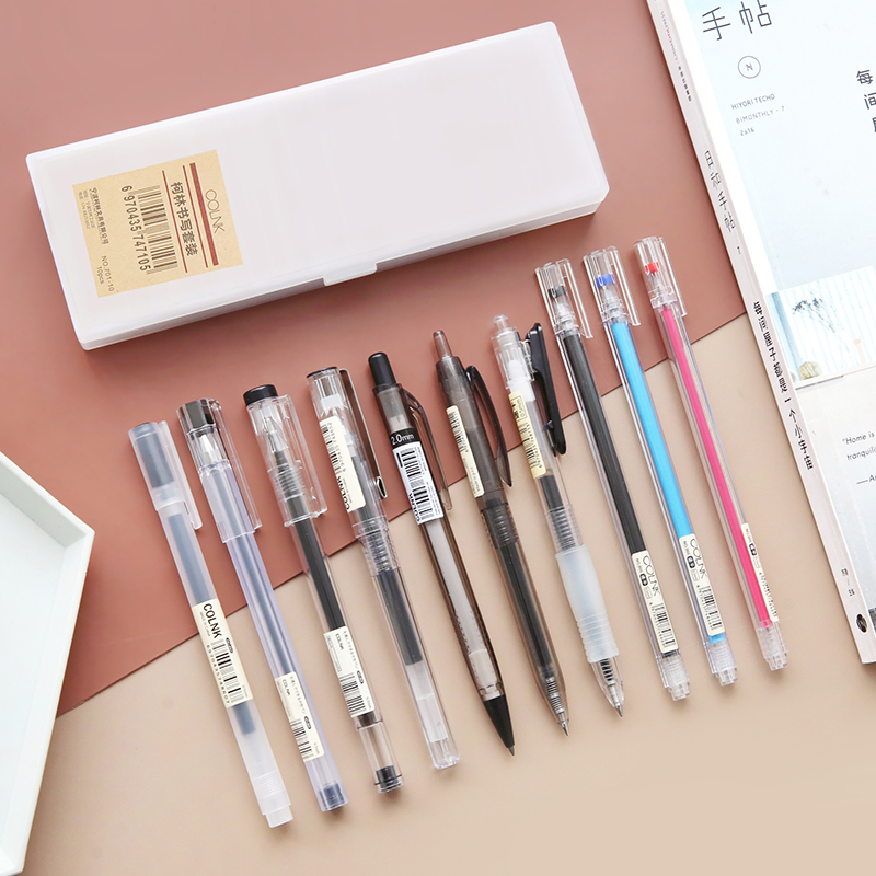 11pcs/set Simple Style Pen Pencil Set Transparent Neutral Pen  Original Press Gel Pens Office Stationery Set kawaii11pcs/set Simple Style Pen Pencil Set Transparent Neutral Pen  Original Press Gel Pens Office Stationery Set kawaii