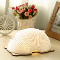 Novelty Book Light USB Rechargeable RGB LED Wooden Folding Mini Book Shape Light Bedroom Night Lamp For Kids Children Baby Gift