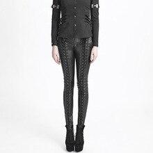 2017 Steampunk Women Pu Leather Pants Gothic Black Front Strap Pencil Pants Fashion Slim Long Trousers