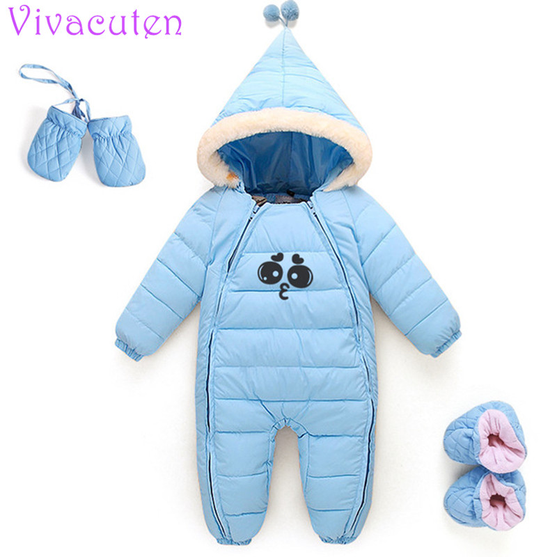 8a33a6e84 Thick Warm Infant Baby Rompers Newborn Winter Clothes Cotton-padded ...