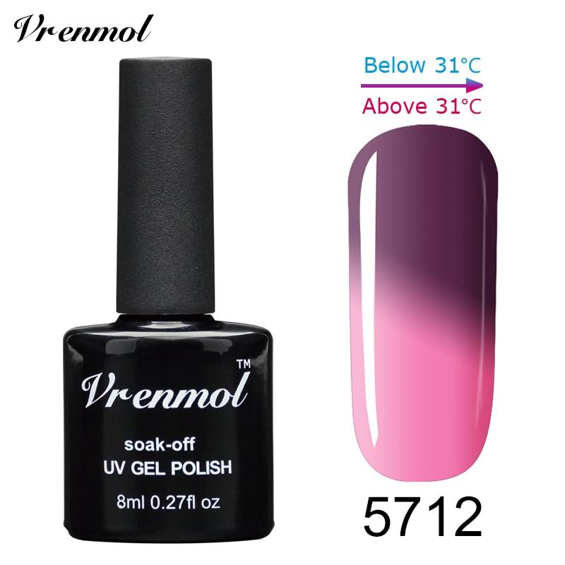 Vrenmol, 1 шт., меняющий цвет, замачиваемый УФ-гель, цвета, лак Verniz, Термальный, меняющий настроение, Гель-лак для ногтей - Цвет: 5712
