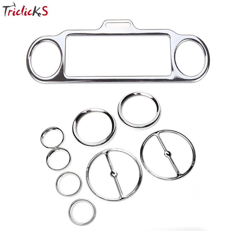 Triclicks 9x Stereo Accent Trim Ring Cover&Speedometer Gauges Bezels&Horn Covers For Harley Touring FLHT FLHX Electra Road Glide scooter parts 8pcs chrome speedometer gauges bezels and horn cover case for harley davidson touring free shipping