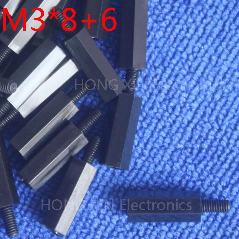 M3*8+6 1 pcs Black Nylon Standoff Spacer Standard M3 Male-Female 8mm Standoff Kit Repair Set High Quality m3 6 6 1 pcs black nylon standoff spacer standard m3 male female 6mm standoff kit repair set high quality pc tool
