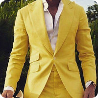 Yellow Men Suit 2 Piece Wide Peaked Lapel Beach Man Blazer Jacket Custom Made Prom Wear Party Suit Terno Masculino Costume Homme