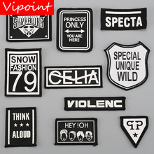 VIPOINT embroidery printed warning patches letter alphabet badges applique for clothing YM-46