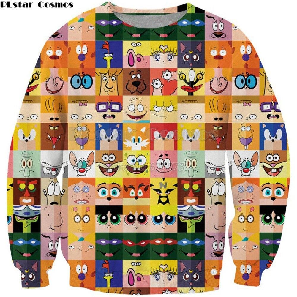 PLstar Cosmos 2018 New Fashion Sweatshirt Cartoon Minimal 90's Characters Print Crewneck Sweatshirt Mens Women Casual Pullovers