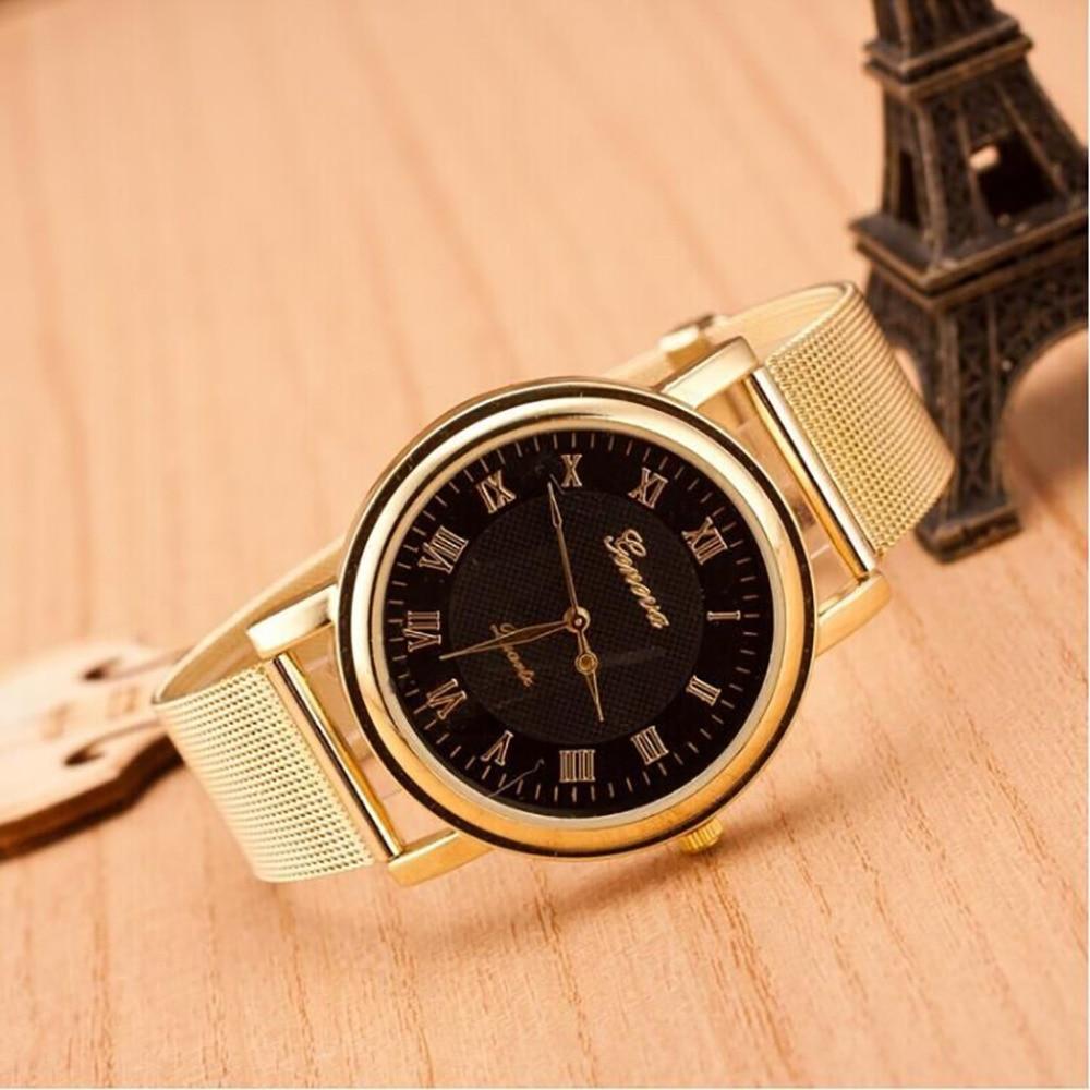 Bracelet Watch Classic Stainless-Steel Gold Geneva Quartz Womens Ladied Fashion -4a29